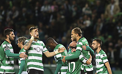 December 1, 2017 - Lisbon, Portugal - Sporting's forward Bas Dost (2ndR) celebrates with team mates after scoring during the Portuguese League  football match between Sporting CP and CF Belenenses at Jose Alvalade  Stadium in Lisbon on December 1, 2017. (Credit Image: © Carlos Costa/NurPhoto via ZUMA Press)