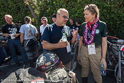This is the end my friend, 3,400 miles from the Atlantic to the Pacific. The journey is over. Steve Rinker and Cris Simmons at the finish line of the Motorcycle Cannonball Race of the Century. Stage-15 ride from Palm Desert, CA to Carlsbad, CA. USA. Sunday September 25, 2016. Photography ©2016 Michael Lichter.