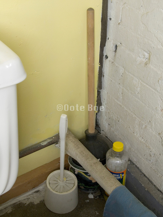 toilet corner with plunger and cleaning materials