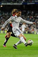 Real Madrid´s Cristiano Ronaldo and Almeria's Sebastian Dubarbier during 2014-15 La Liga match between Real Madrid and Almeria at Santiago Bernabeu stadium in Madrid, Spain. April 29, 2015. (ALTERPHOTOS/Luis Fernandez)