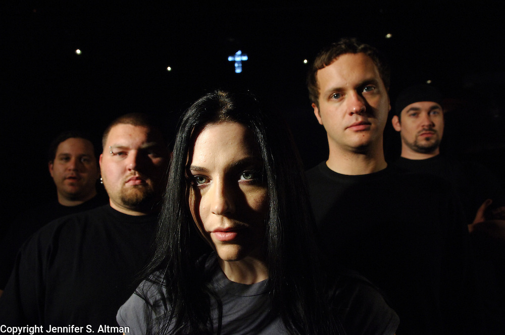 The band Evanescence is seen before a rehearsal at SST Inc. Studios in Weehawken, NJ. Singer/song writer/pianist Amy Lee is seen with guitarist John LeCompt, in hat, drummer Rocky Gray, with both eyebrows pierced, bass player Tim McCord and Terry Balsamo, guitartist with dreadlocks pulled back. 9/20/2006 Photo by Jennifer S. Altman/For The Times
