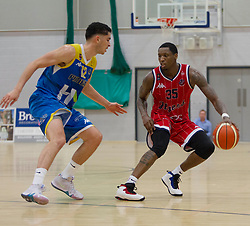 Fred Thomas of Bristol Flyers (R) and Louis Sayers of Cheshire Phoenix in action - Photo mandatory by-line: Jack Phillips/JMP - 25/11/2018 - BASKETBALL - Ellesmere Port Arena - Ellesmere Port, England - Cheshire Phoenix v Bristol Flyers - {event}