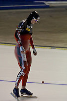 Calgary - December 5, 2009 - Essent ISU World Cup Speedskating at the Olympic Oval in Calgary.  Christine Nesbitt of Canada prepares to race in the A Division of the women's 1500m event.  Nesbitt finished 2nd in 1:54.43 and was part of a strong Canadian contingent that took 3 of the top 4 places in the event...©2009, Sean Phillips.http://www.Sean-Phillips.com