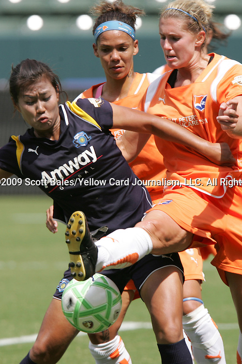 22 August 2009: LA's Han Duan (CHN) (left) and Sky Blue's Noelle Keselica (right). Sky Blue FC defeated the Los Angeles Sol 1-0 at the Home Depot Center in Carson, California in the inaugural WPS Championship game.
