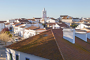 View over rooftops of buildings in village of Alvito, Beja District, Baixo Alentejo, Portugal, Southern Europe
