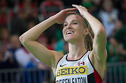 Brianne Theisen Eaton of Canada celebrates after she won the women's 800-meter sprint of the pentathlon and the overall pentathlon event, on day two of the IAAF World Indoor Championships at Oregon Convention Center in Portland, Oregon, the United States, on March 18, 2016. Brianne Theisen Eaton won the tetle with 4881 points. EXPA Pictures © 2016, PhotoCredit: EXPA/ Photoshot/ Yang Lei C<br /> <br /> *****ATTENTION - for AUT, SLO, CRO, SRB, BIH, MAZ, SUI only*****