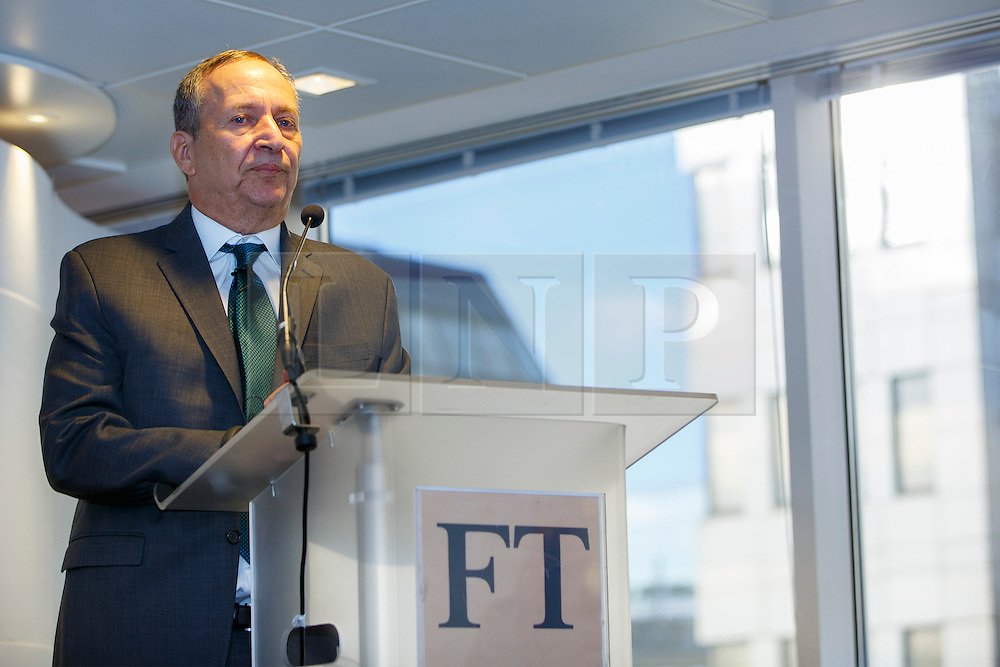 © Licensed to London News Pictures. 19/01/2015. LONDON, UK. Larry Summers, former US Treasury Secretary and former Director of the National Economic Council for President Obama speaks at UK launch of the Commission on Inclusive Prosperity's report at Financial Times HQ in London. Photo credit : Tolga Akmen/LNP