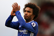 Willian of Chelsea applauds the Chelsea fans. Premier league match, Stoke City v Chelsea at the Bet365 Stadium in Stoke on Trent, Staffs on Saturday 18th March 2017.<br /> pic by Andrew Orchard, Andrew Orchard sports photography.
