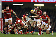 Alun Wyn Jones of Wales is held up. Under Armour 2016 series international rugby, Wales v South Africa at the Principality Stadium in Cardiff , South Wales on Saturday 26th November 2016. pic by Andrew Orchard, Andrew Orchard sports photography
