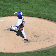 Pitcher Alex Torres, pitching in protective head gear during the New York Mets Vs Washington Nationals MLB regular season baseball game at Citi Field, Queens, New York. USA. 3rd May 2015. Photo Tim Clayton