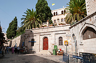 Jerusalem - October 20, 2010: The Austrian Hospice, founded in 1863, is the oldest national pilgrim house in the Holy Land. It is located at the corner of Via Dolorosa and El Wad Street in the old city's Muslim Quarter, at the 3rd Station the Cross.