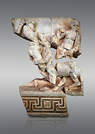 Roman Sebasteion relief  sculpture of Herakles or Hercules, Nessos and Deianira Aphrodisias Museum, Aphrodisias, Turkey. <br /> <br /> The centaur Nessos agreed to carry Herakles' (Hercules) wife Deianira across the river Euenos in Aitolia but tried to rape her in mid-stream. I the struggle that followed we see Herakles about to deliver a crushing blow with his club. Nessos has been beaten to her knees but is still fighting. Behind the centaur is the partly disrobed figure of Deianira .<br /> <br /> If you prefer to buy from our ALAMY STOCK LIBRARY page at https://www.alamy.com/portfolio/paul-williams-funkystock/greco-roman-sculptures.html . Type -    Aphrodisias     - into LOWER SEARCH WITHIN GALLERY box - Refine search by adding a subject, place, background colour, museum etc.<br /> <br /> Visit our ROMAN WORLD PHOTO COLLECTIONS for more photos to download or buy as wall art prints https://funkystock.photoshelter.com/gallery-collection/The-Romans-Art-Artefacts-Antiquities-Historic-Sites-Pictures-Images/C0000r2uLJJo9_s0