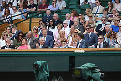 LONDON, ENGLAND - JULY 03: Carlo Nero and Joely Richardson, Vernon Kay and Tess Daly sit in the Royal Box as they attend day two of the Wimbledon Tennis Championships at the All England Lawn Tennis and Croquet Club on July 3, 2018 in London, England...People:  Carlo Nero and Joely Richardson, Vernon Kay and Tess Daly (Credit Image: © SMG via ZUMA Wire)