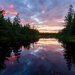 Sunrise on Little Berry Pond in Maine's Northern Forest. Cold Stream watershed, Johnson Mountain Township.