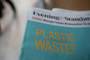 Headline on the Evening Standard Newspaper reads Plastic Waste in reference to the environmental issue of the day which is in the news regularly with regard to the levels of plastic pollution in our oceans, recycling issues and the level of single use plastic in everyday life, London, England, United Kingdom.