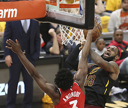 May 7, 2018 - Cleveland, OH, USA - Cleveland Cavaliers' LeBron James drives to the basket during the second quarter as Toronto Raptors' OG Anunoby defends in Game 4 of a second-round playoff series on Monday, May 7, 2018 in Cleveland, Ohio. (Credit Image: © Phil Masturzo/TNS via ZUMA Wire)