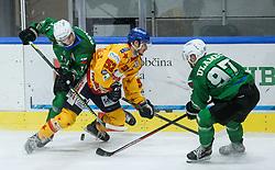 Sever Mark of HK SZ Olimpija and Ulamec Luka of HK SZ Olimpija during first leg Ice Hockey game between HK SZ Olimpija Ljubljana and Asiago Hockey in Final of Alps Hockey League 2020/21, on April 20, 2021 in Hala Tivoli, Ljubljana, Slovenia. Photo by Vid Ponikvar / Sportida