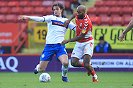 MJ Williams makes a challenge during the EFL Sky Bet League 1 match between Charlton Athletic and Rochdale at The Valley, London, England on 4 May 2019.