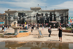 © Licensed to London News Pictures. 22/08/2015. Weston-super-Mare, North Somerset, UK.  The first main day of BANKSY's Dismaland show at the old Tropicana on Weston seafront, when the event is open to the general public. Photo credit : Simon Chapman/LNP