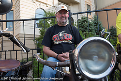 Motorcycle Cannonball founder Lonnie Isam Jr on the Atlantic City boardwalk at the start of the Motorcycle Cannonball Race of the Century. Stage-1 from Atlantic City, NJ to York, PA. USA. Saturday September 10, 2016. Photography ©2016 Michael Lichter.