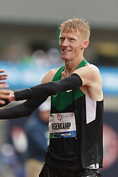 Olympic Trials Eugene 2012: men's 10,000 meter final, victory lap for Olympic team qualifier Matt Tegenkamp