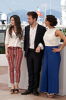 Actress Amandine Truffy, Director Grégoire Leprince-Ringuet and actress Pauline Caupenne at the Fool Moon (La Foret De Quinconces) film photo call at the 69th Cannes Film Festival Tuesday 17th May 2016, Cannes, France. Photography: Doreen Kennedy