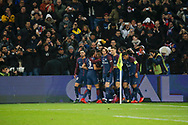 Neymar da Silva Santos Junior - Neymar Jr (PSG) scored a goal and celebrated it with Edinson Roberto Paulo Cavani Gomez (psg) (El Matador) (El Botija) (Florestan), Adrien Rabiot (psg), Edinson Roberto Paulo Cavani Gomez (psg) (El Matador) (El Botija) (Florestan), Kylian Mbappe (PSG), Layvin Kurzawa (psg), Presnel Kimpembe (PSG), Thomas Meunier (PSG) during the French Championship Ligue 1 football match between Paris Saint-Germain and ESTAC Troyes on November 29, 2017 at Parc des Princes stadium in Paris, France - Photo Stephane Allaman / ProSportsImages / DPPI