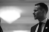 Note : image has been converted to black & white. Ryan Giggs , the new Wales manager looks on inside Hensol Castle. Press conference announcing Ryan Giggs as the new manager of the Wales football team at Hensol Castle in Hensol, near Cardiff , South Wales on Monday 15th January 2018 .  pic by Andrew Orchard/Andrew Orchard sports photography