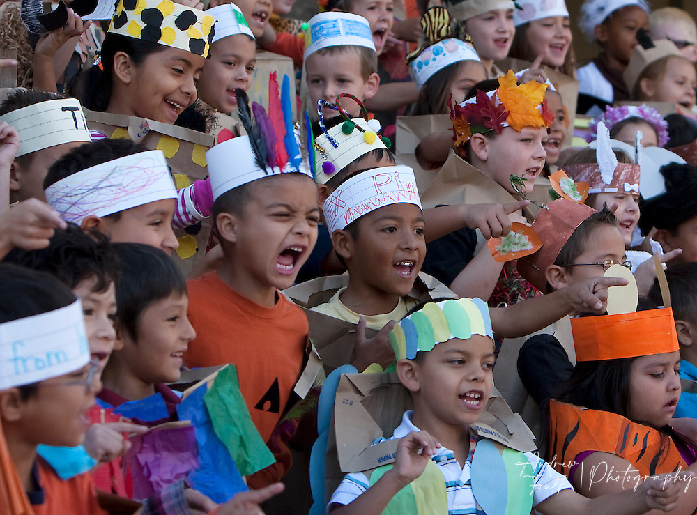 """/Andrew Foulk/ For The Californian/ .First graders at Avaxat Elementary scream and act like a wild animals during the schools """"Wild Rumpus"""" where students dressed up as characters from the book """"Where the Wild Things Are""""."""