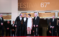 Luc Dardenne, actors Fabrizio Rongione, Marion Cotillard and  Jean-Pierre Dardenne at the Two Days, One Night (Deux Jours, Une Nuit) gala screening red carpet at the 67th Cannes Film Festival France. Tuesday 20th May 2014 in Cannes Film Festival, France.