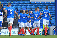 GOAL Ollie Hawkins celebrates 1-0 during the EFL Sky Bet League 1 match between Portsmouth and Rochdale at Fratton Park, Portsmouth, England on 13 April 2019.