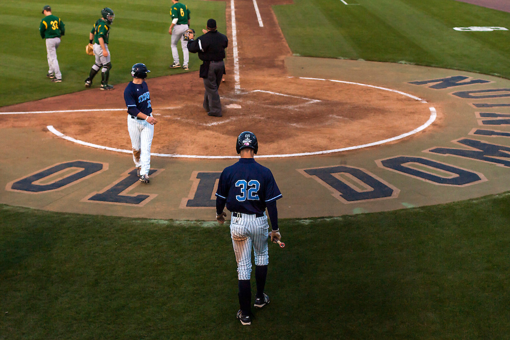 May 3, 2013; Norfolk, VA; ODU Monarchs right fielder Ben Verlander (32) walks to the plate to bat during the game against the George Mason Patriots at the Bud Metheny Baseball Complex . Mandatory Credit: Peter Casey-USA TODAY Sports