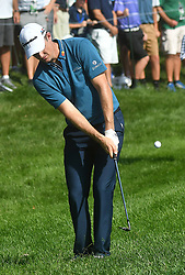 August 10, 2018 - St. Louis, Missouri, U.S. - ST. LOUIS, MO - AUGUST 10: Justin Rose hits out of the rough on to the #15 green during the second round of the PGA Championship on August 10, 2018, at Bellerive Country Club, St. Louis, MO.  (Photo by Keith Gillett/Icon Sportswire) (Credit Image: © Keith Gillett/Icon SMI via ZUMA Press)