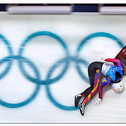 Violeta Stramatuaru of Romania slides uncontrollably at high speeds after being knocked unconscious by slamming in several walls at the Winter Olympic Games in Vancouver, British Columbia. Stramatuaru suffered a concussion from the incident.