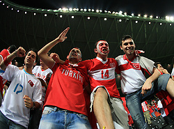 Fans of Turkey celebrate victory after the UEFA EURO 2008 Quarter-Final soccer match between Croatia and Turkey at Ernst-Happel Stadium, on June 20,2008, in Wien, Austria.  Won of Turkey after penalty shots. (Photo by Vid Ponikvar / Sportal Images)