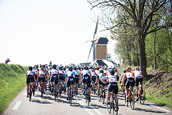 The peloton approaches a windmill during the Amstel Gold Race - Ladies Edition - a 126.8 km road race, between Maastricht and Valkenburg on April 21, 2019, in Limburg, Netherlands. (Photo by Balint Hamvas/Velofocus.com)
