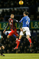 Blackburn Rovers' Dominic Samuel competing with Portsmouth's Christian Burgess <br /> <br /> Photographer Andrew Kearns/CameraSport<br /> <br /> The EFL Sky Bet League One - Portsmouth v Blackburn Rovers - Tuesday 13th February 2018 - Fratton Park - Portsmouth<br /> <br /> World Copyright © 2018 CameraSport. All rights reserved. 43 Linden Ave. Countesthorpe. Leicester. England. LE8 5PG - Tel: +44 (0) 116 277 4147 - admin@camerasport.com - www.camerasport.com