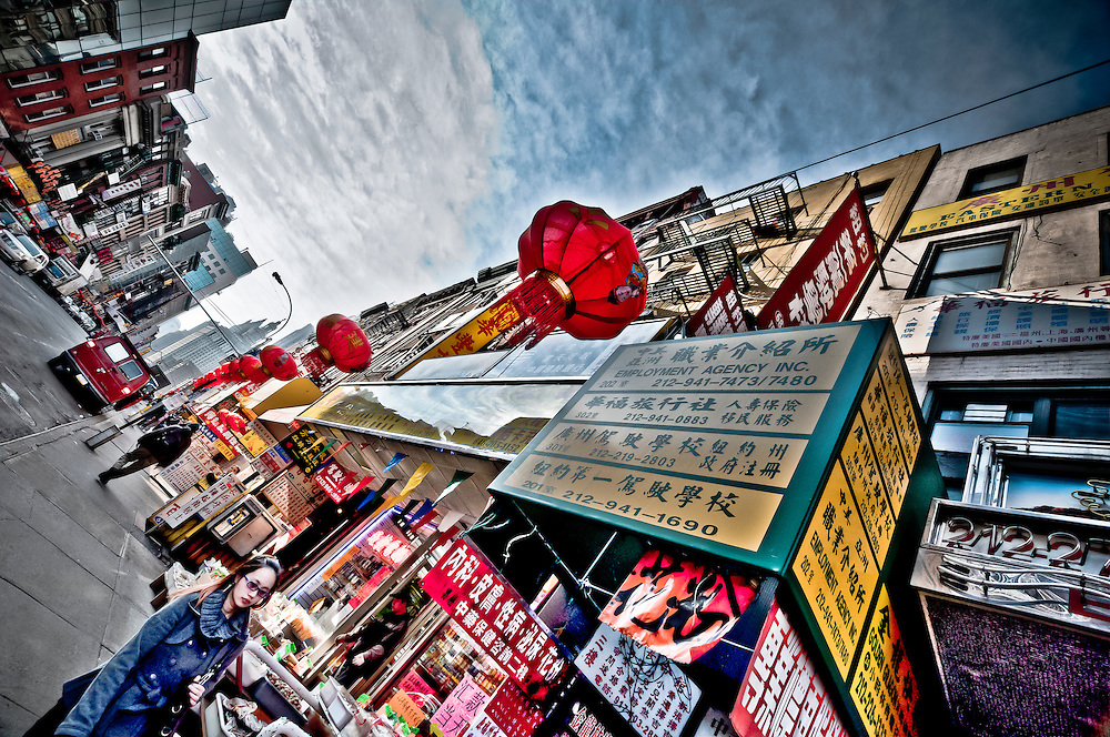 Lanterns hanged out on a street of Chinatown after the Chinese New Year in Downtown Manhattan, New York