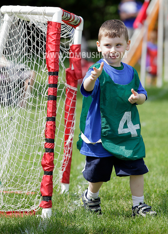 Middletown, New York - A boy has fun during a soccer program at the Middletown YMCA on May 28, 2011.