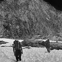 Copy of a vintage print I made in a makeshift kitchen darkroom at a cottage I rented in Felton, California while attending UCSC.  Made from merging a litho film negative of a Nepali rice print with an image of Roger Schley and Jay Jensen crossing the Palisade Glacier below Mount Sill in California's Sierra Nevada.