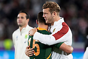 Willie Le Roux of South Africa (left) and Piers<br /> Francis during the Rugby World Cup  final match between England and South Africa at the International Stadium ,  Saturday, Nov. 2, 2019, in Yokohama, Japan. South Africa defeated England 32-12. (Florencia Tan Jun/ESPA-Image of Sport)