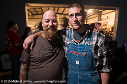Bill Dodge with Moonshiners TV show star Josh Owens at the Industry party at Bill Dodge's bike shop during the 2015 Biketoberfest Rally. Daytona Beach, FL, USA. October 16, 2015.  Photography ©2015 Michael Lichter.