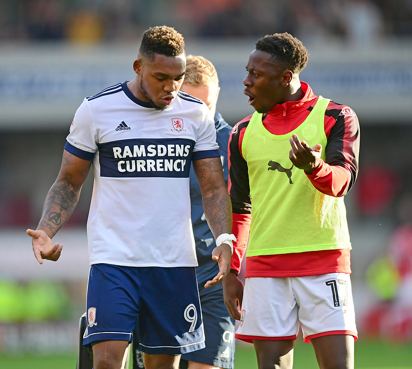 Middlesbrough's Britt Assombalonga speaks to Barnsley's Andy Yiadom as they walk off the pitch at the end of the game<br /> <br /> Photographer Chris Vaughan/CameraSport<br /> <br /> The EFL Sky Bet Championship - Barnsley v Middlesbrough - Saturday 14th October 2017 - Oakwell - Barnsley<br /> <br /> World Copyright © 2017 CameraSport. All rights reserved. 43 Linden Ave. Countesthorpe. Leicester. England. LE8 5PG - Tel: +44 (0) 116 277 4147 - admin@camerasport.com - www.camerasport.com