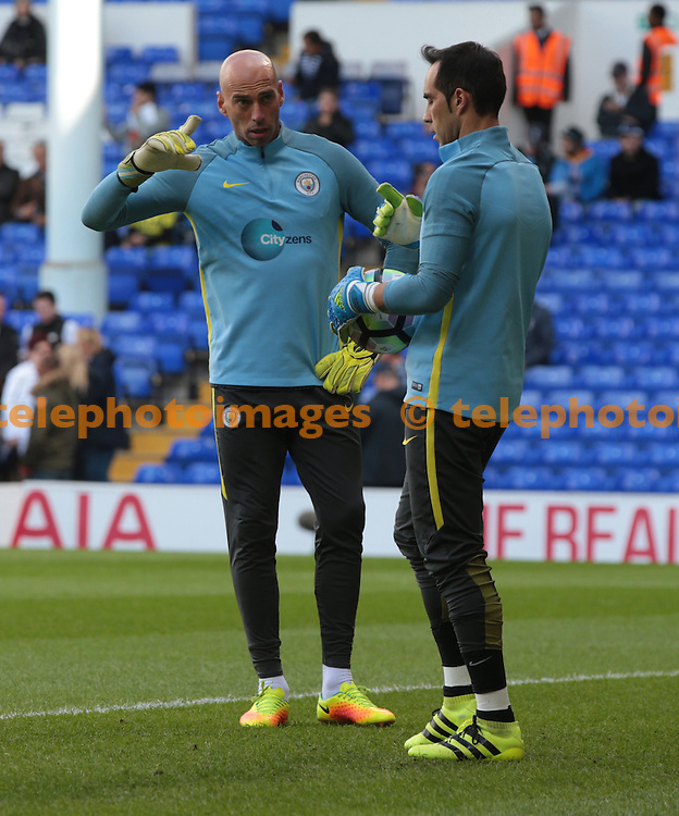 Manchester City's Wilfredo Caballero and Claudio Bravo during the pre-match warm-up <br /> during the Premier League match between Tottenham Hotspur and Manchester City at White Hart Lane in London. October 1, 2016.<br /> James Galvin / Telephoto Images<br /> +44 7967 642437
