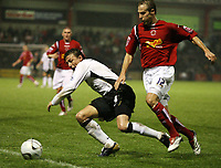 Photo: Rich Eaton.<br /> <br /> Crewe Alexander v Manchester United. Carling Cup. 25/10/2006. Gabriel Heinze left of Man United and Luke Varney of Crewe clash