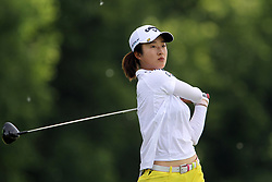 June 14, 2018 - Belmont, Michigan, United States - Yu Liu of Beijing, China hits from the 5th tee during the first round of the Meijer LPGA Classic golf tournament at Blythefield Country Club in Belmont, MI, USA  Thursday, June 14, 2018. (Credit Image: © Amy Lemus/NurPhoto via ZUMA Press)