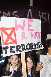 Westminster, London, December 2nd 2015.  As Parliament prepares to vote on air strikes on Islamic State terrorists in Syria, Stop The War and other groups opposed to British military involvement protest outside Parliament. PICTURED: Students from Highbury Grove School in Jeremy Corbyn's constituency, Islington protest against bombing Syria. ///FOR LICENCING CONTACT: paul@pauldaveycreative.co.uk TEL:+44 (0) 7966 016 296 or +44 (0) 20 8969 6875. ©2015 Paul R Davey. All rights reserved.