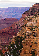 Layers of color along the south rim of the Grand Canyon.