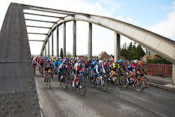 The peloton all together at Le Samyn des Dames 2019, a 101 km road race from Quaregnon to Dour, Belgium on March 5, 2019. Photo by Sean Robinson/velofocus.com