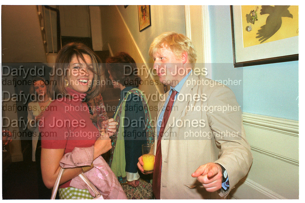 Petronella Wyatt and Boris Johnson. Spectator  Summer party. Doughty St. 7/6/2000. SUPPLIED FOR ONE-TIME USE ONLY> DO NOT ARCHIVE. © Copyright Photograph by Dafydd Jones 66 Stockwell Park Rd. London SW9 0DA Tel 020 7733 0108 www.dafjones.com